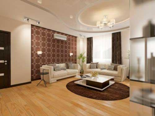 сочетание двух цветов обоев в гостиной (4)