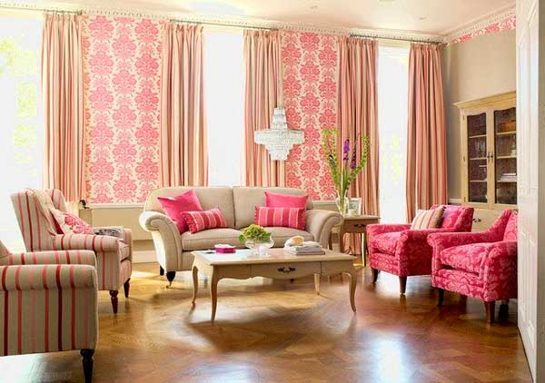 сочетание двух цветов обоев в гостиной (5)