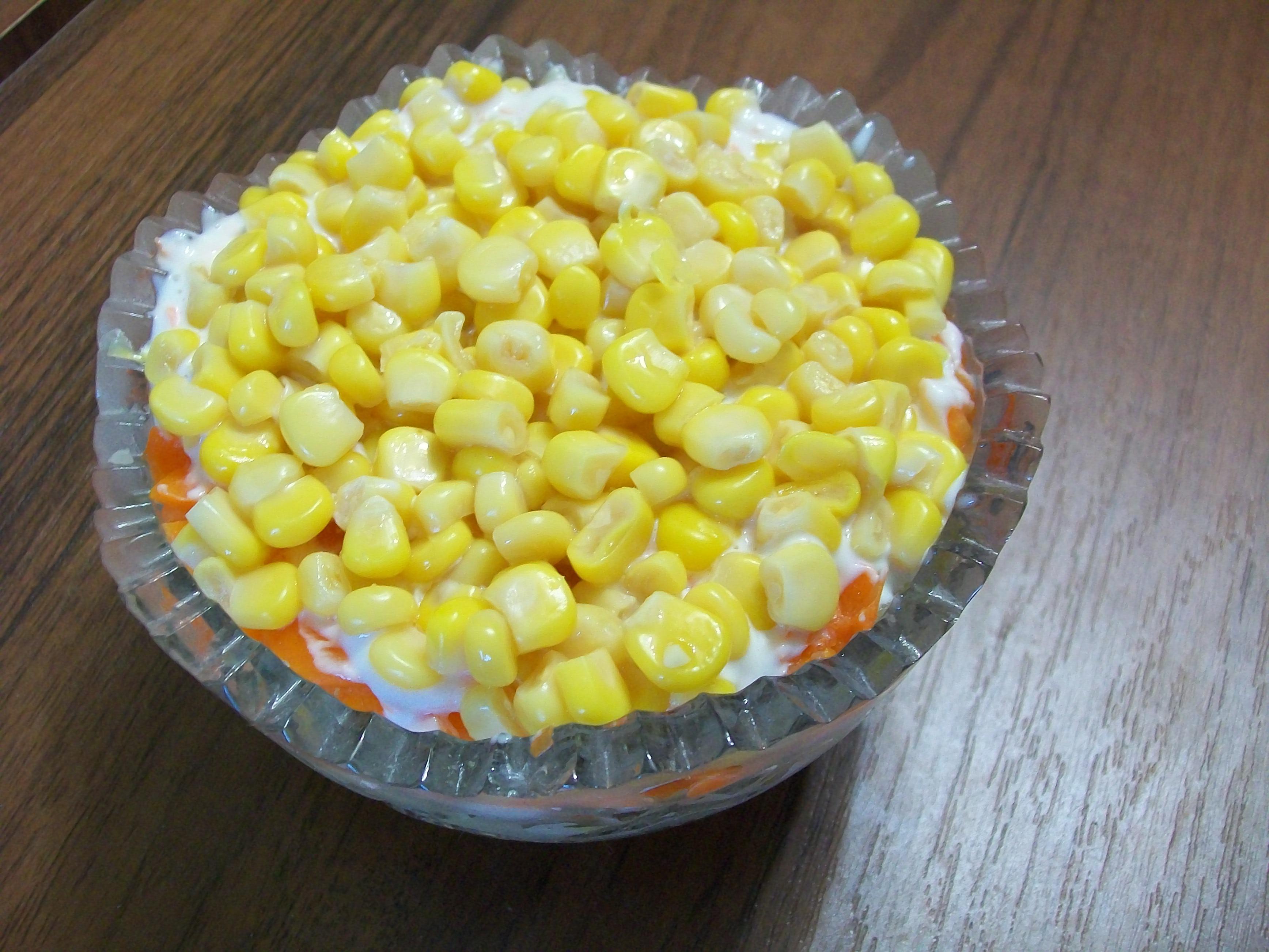 Салат мимоза с кукурузой с фото