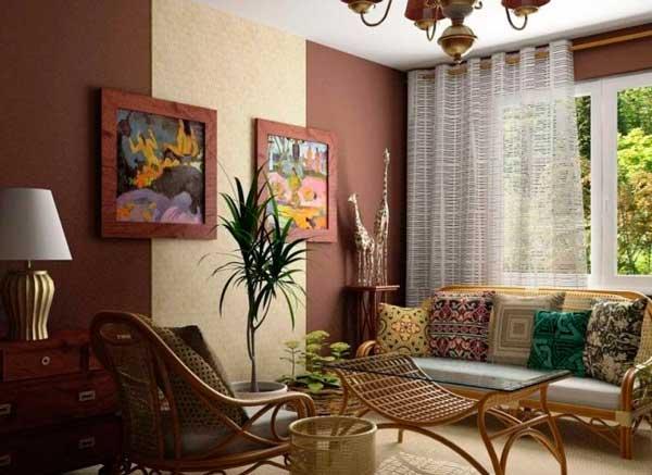 сочетание двух цветов обоев в гостиной (3)